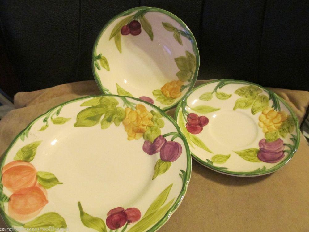 Three Pcs Franciscan Fresh Fruit Handpainted Dinnerware Bowl Saucer Salad Plate