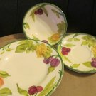 Three Pcs Franciscan Fresh Fruit Handpainted Dinnerware Bowl Saucer Salad Plate