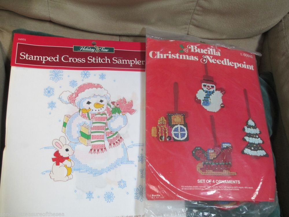 Bucillia Christmas Plastic Canvas Kit Ornaments 60515 W Crossstitch Sampler Pair
