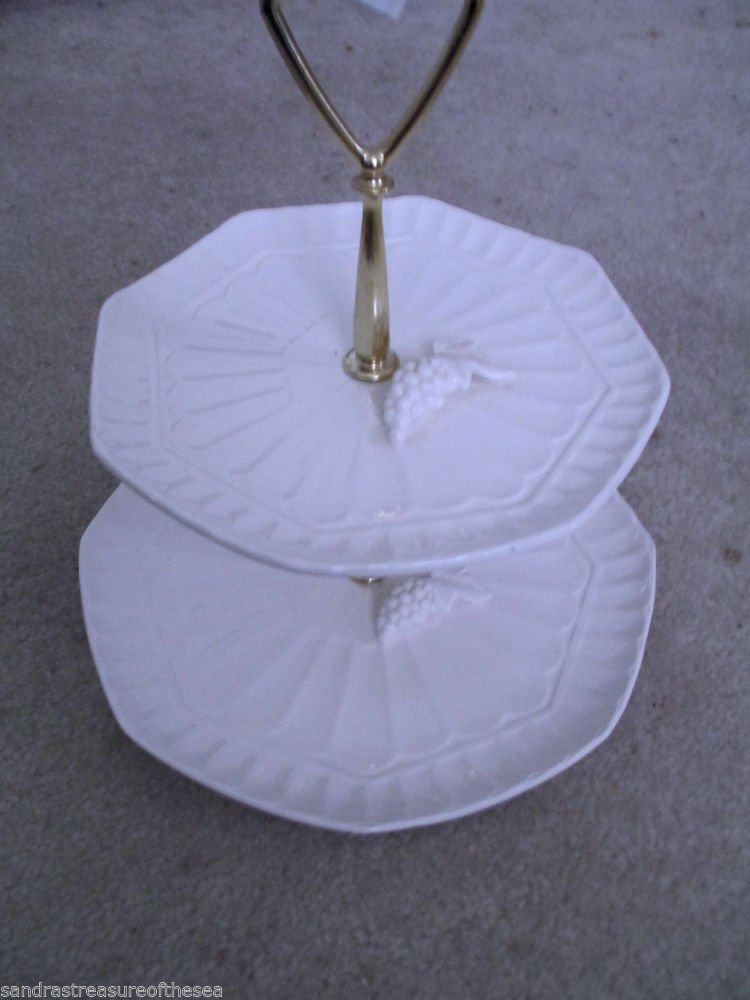 Vintage  Lefton White China Two Tier Tidbit Tray Gold Handle Grape and Leaf