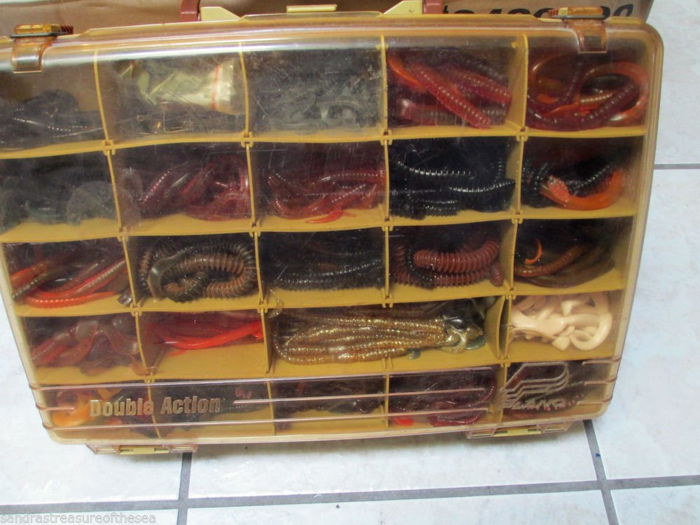 Lot Assorted Rubber Worms Fishing Lures Bait In Plano Double Action Tackle Box