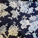 Cranston Print Works Schwartz Liebman TX  Cream Floral on Black 6 Yd Quilting