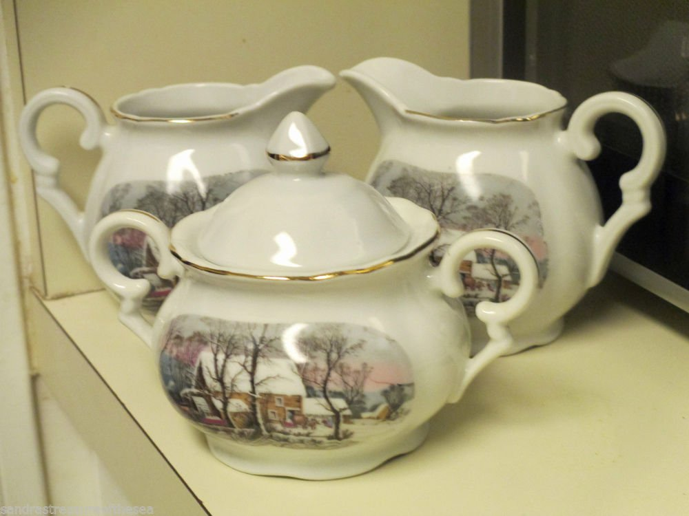 Vintage Avon 1977 Currier & Ives Two Creamers and Sugar Bowl w Lid Japan