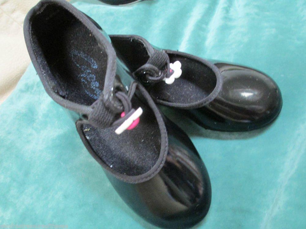 Girls Capezio Black Patent Tap Dance Shoes Tap Jazz Ballet Group Dance Class 8.5