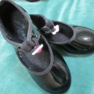 Girls Capezio Black Patent Tap Dance Shoes Tap Jazz Ballet Group Dance Class 8.5
