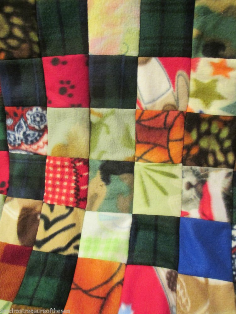 Handmade  Fleece Material Quilt Top Machine Stitched Unfinished Gift