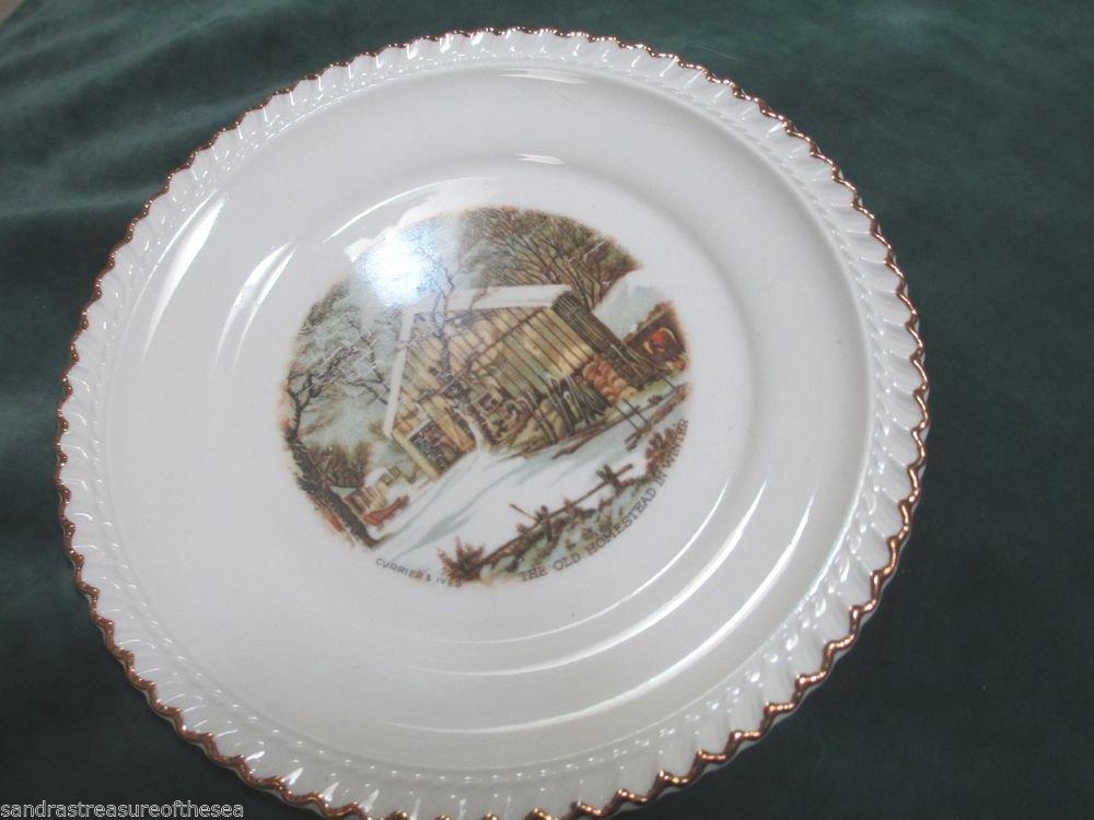 Harker Pottery Currier Ives Mid Century Harkerware USA Dessert Plate ...