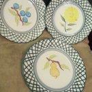 Three Royal Norfolk Dinner Plates RNF78 Green Lattice With Floral Center Japan
