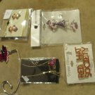 Five Red Hat Society Fashion Jewelry Earrings Necklace Pins and Purse Hanger NIP