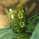 Five Vintage Avocado Green Indiana Glass Whitehall Footed Beverage Tumblers 9OZ