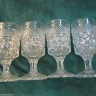 Four Anchor Hocking Wexford Clear Pattern Stemmed Wine Glasses Art Deco
