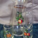 Vintage Glass Cocktail Juice Pitcher Set Apple Pear Fruit Design Barware Ice Lip