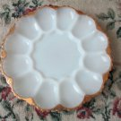 Vintage Milk Glass Anchor Hocking Deviled Egg Plate Relish Tray Oyster Platter