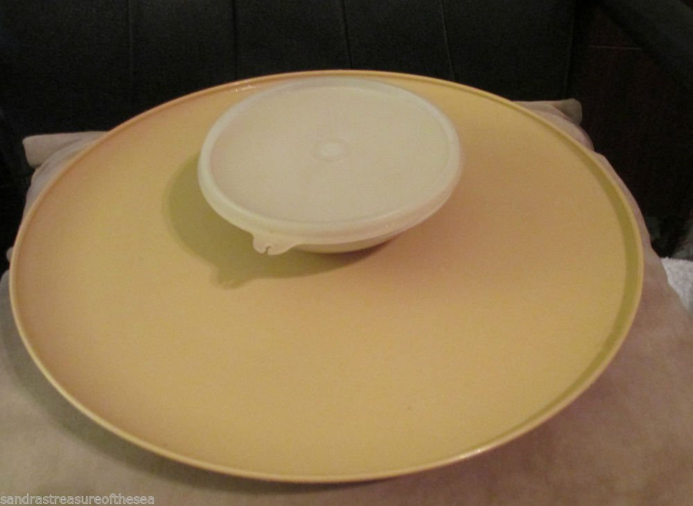 Two Tupperware Chip Dip Trays or One Is Divided Covered Relish Server Parties