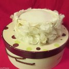 Womans White Close Fitting PillBox Style Hat Easter Bonnet White Flower Trim 50s