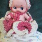 Mengelson Kewpie Doll W Vintage Hand Made Hat Bloomers Ruffled Crochet Dress
