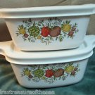 Two Individual Casserole Dish Tab Handle Corning Spice of Life W Storage Lids