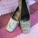 Ladies Size 7 1/2 M BCBG Heels Snake Skin Three Inch Heel Gently Worn Pumps WOW