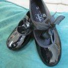 2 Pr Girls ABT  Black Patent Tap Dance Shoe W Leos Ballet Jazz Dance Class Sz 11