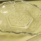 Vintage Anchor Hocking Sandwich Crystal Crimped Hexagon 6 1/2 Inch Bowl