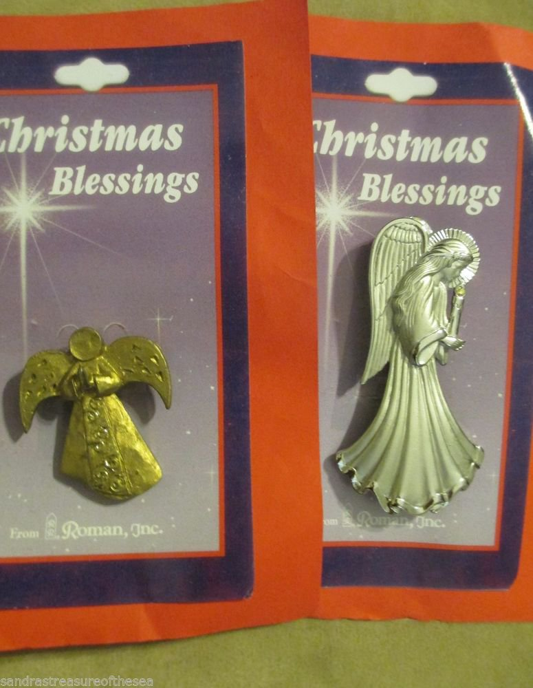 Two Different Seraphim Classic Angel Pins by Roman Inc Christmas Blessings