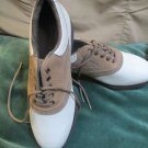 FootJoy SoftJoy Terrains Womens 6.5 M Leather Golf Shoes White Tan Accent Team