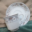 Elegant Fine Porcelain Claremont Made in Japan Cup Saucer Set Platinum Trim