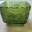 Vintage Anchor Hocking Green Footed Square Bowl Grape Pattern Collectible
