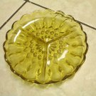 Anchor Hocking Honey Amber Fairfield Pattern Three Part Divided Relish Dish 70s