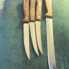 Four Vintage Old Homestead Lifetime Cutlery Stainless Steel Knives Wood Handles