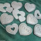 Ten Home Interior Country Hearts Wall Plaques Resin Wall Hangings Blue Gold Rub