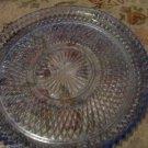 Vintage Blue Indiana Glass Diamond Point Torte Plate Dish Platter Twelve Inches
