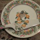 Vintage Andrea by Sadek Partridge In A Pear Tree Party Cake Plate Server Holiday