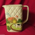 Vintage Otagiri 1982 Dairy Farm Scene Milk Jug Pitcher Japan Embossed Design
