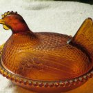 Vintage Indiana Glass Co Golden Amber Hen on Nest Collectible Glass Decor