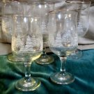 Five Arbys Winter Scene Glass Holiday Stemmed  Wine Glasses Gold Rims Mint