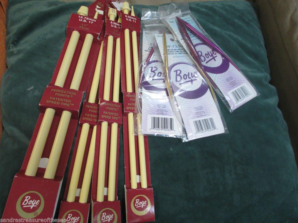 Lot Boye Single Point Knitting Needles 11 to 17 Circular 8 9 13 Metal 29 inches