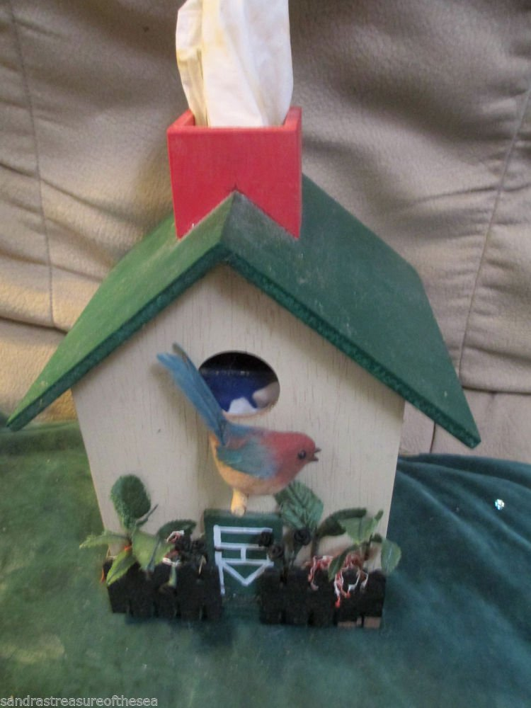 Vintage Painted Wood Bird House Cottage Hand Painted Decor Tissue Box Cover