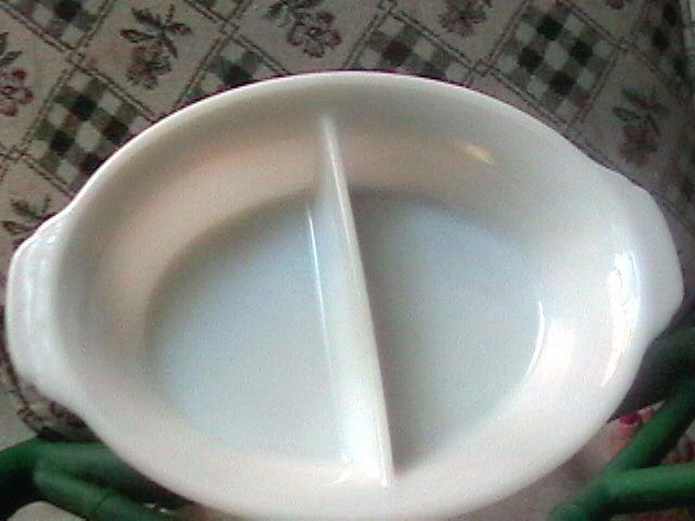 Vintage Fire King White Divided Oval Serving Bowl Dish Number 488