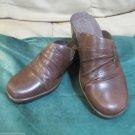 Ladies Size 8 M Clarks 2 Inch Heel Gently Worn Leather Slides Fun