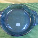Anchor Hocking Cobalt Blue Fluted Glass Nine Inch 1 Qt Deep Dish Pie Plate.USA