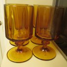 Four Heavy Amber Topaz Eight Panel Footed Water Glasses 1960s 9 Oz Glasses