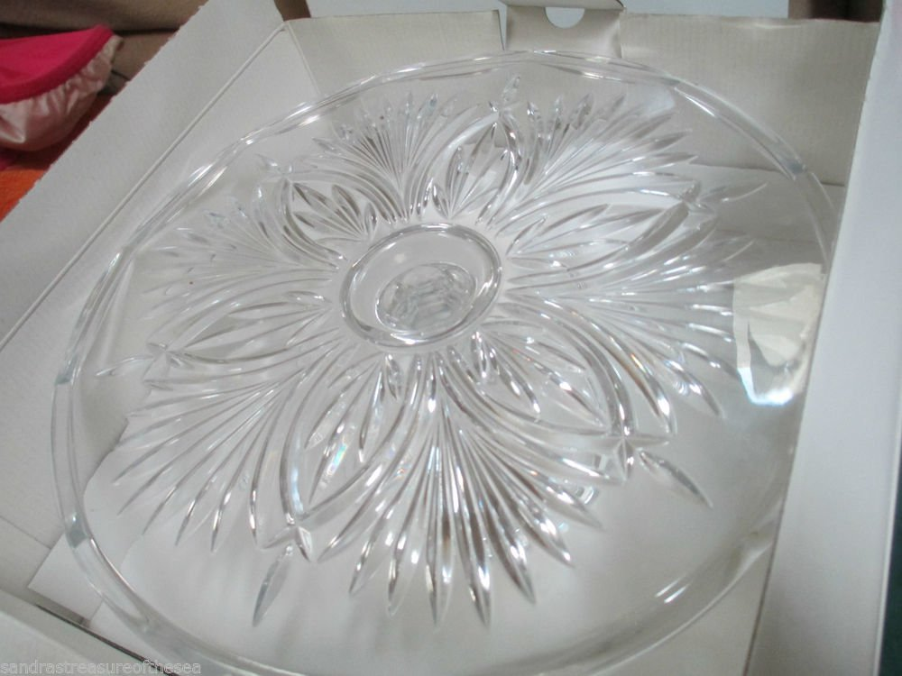 Elegant Royal Limited Pedestal Cake Stand Scalloped Edge Lead Crystal Glass