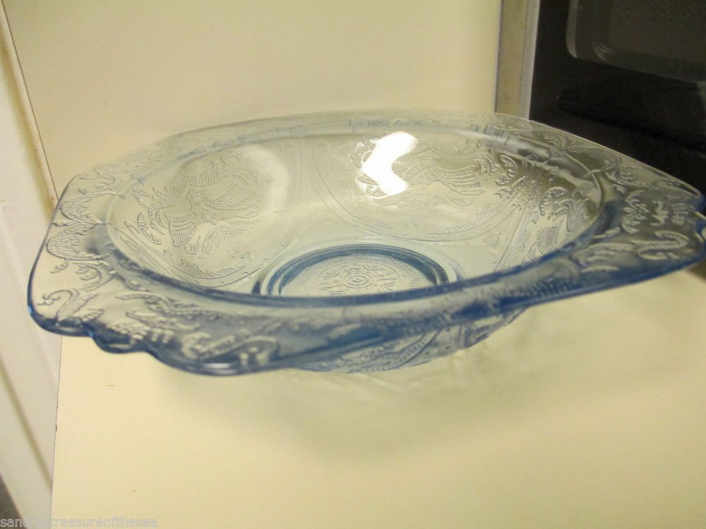 4 Indiana Glass Recollection Blue Soup Bowls 1970 Reproduction of Madrid Pattern