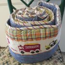 Crib Bumper by Baby Connection Cars and Trucks With Blue Denim and Plaid Trim