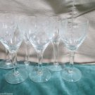 Six Aperitif Cordial Elegant Stemmed Etched Sunflower Design Crystal Glasses Bar