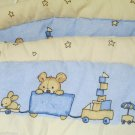 Vianney Crib Bumper Teddys W Baby Animal Pull Train Design Reversible to Solid