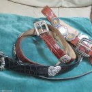 Three Brighton Leather Museum or Other Silver Design Belts M Size Lizard Croco