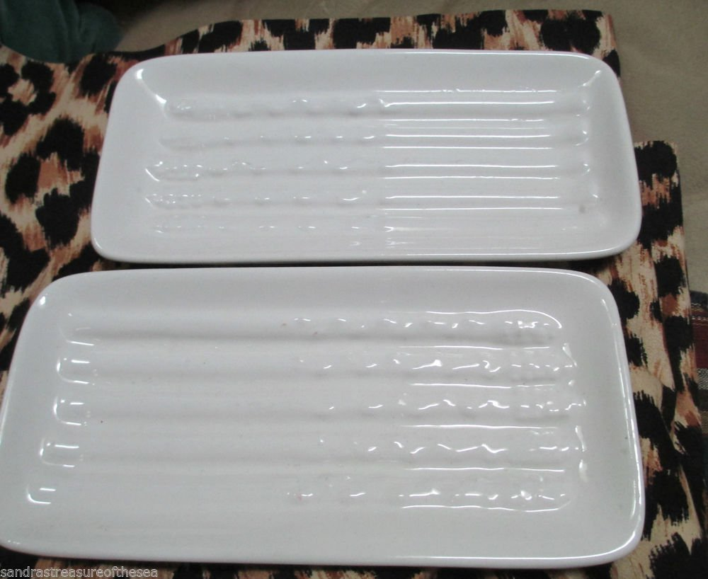 Vintage Set of Two  California Pottery Asparagus Plates USA