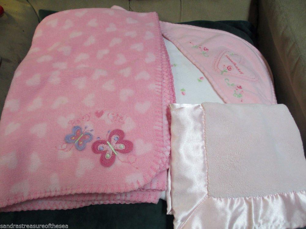 Pink Carters Circo Hearts Baby Girl  Butterflies Sweetheart W Security Blankets